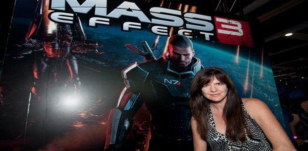 Pictured here: Jennifer Hale (FemShep) alongside Commander Shepard. Worlds are colliding, Jerry!